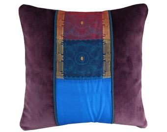 Purple Indian Pillow Cover, Indian Sari Pillow, Cushion Cover Turquoise, Teal, Red and Gold, Decorative Cushion, Indian Decor, 16x16""