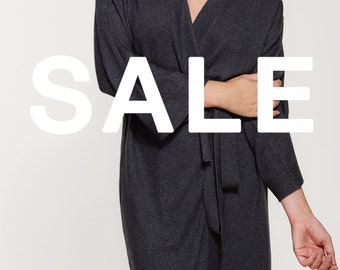 SALE - Luxe Cashmere Silk Blend Robe - Dressing Gown - Long Cashmere Cardigan - Premium Knit - Dark Grey