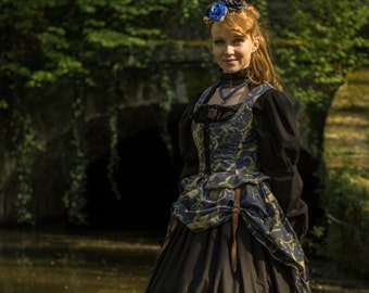 Steampunk outfit: corset and overskirt, blue