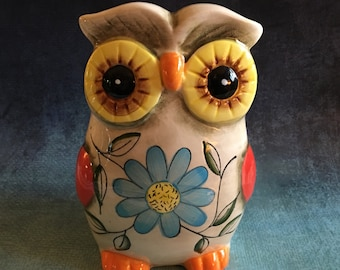 Retro owl colorful ceramic bank