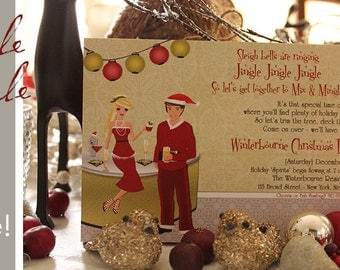 Santa Clause Couple Christmas Invitations - Blonde