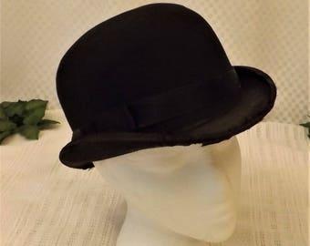 1880s Victorian Black Wool Felt Bowler Derby Hat Size 7
