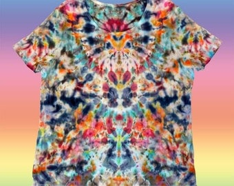 Women's 2XL Unique Colorful T-Shirt Tie Dye Blue Pink Peach Orange Yellow Grey Light Blue Ready to Ship