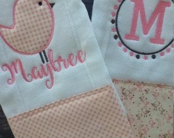 Baby burp set, burp cloth set, cotton burp cloth, baby shower gift, baby girl, baby girl gift, baby gift, pink and white, shabby chic baby