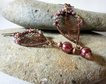 Copper Wire Weave Leaf Earrings, Leaf and Multi Color Iridescent Seed Bead Earrings, Leaf Jewelry with Cranberry Dangle, Leaf Earrings