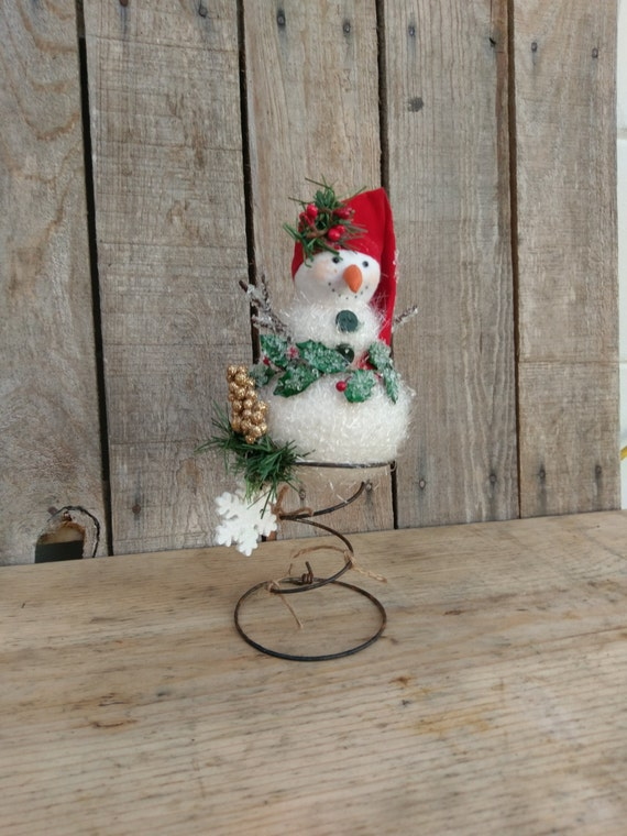 Snowman tree topper rustic christmas bed spring snowman decor for Bed spring decoration