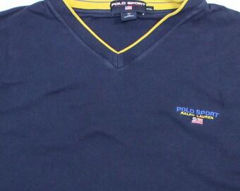 Vintage Polo Sport Shirt ~ Size XXL ••• Script / Blue / Ralph Lauren / Flag / 90s / 1990's / Pullover / Mens / 2XL