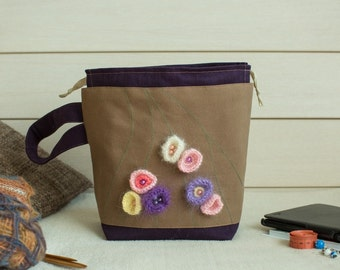 Knitting Project Bag, Crochet Project Bag with Mohair Flowers, Medium Size