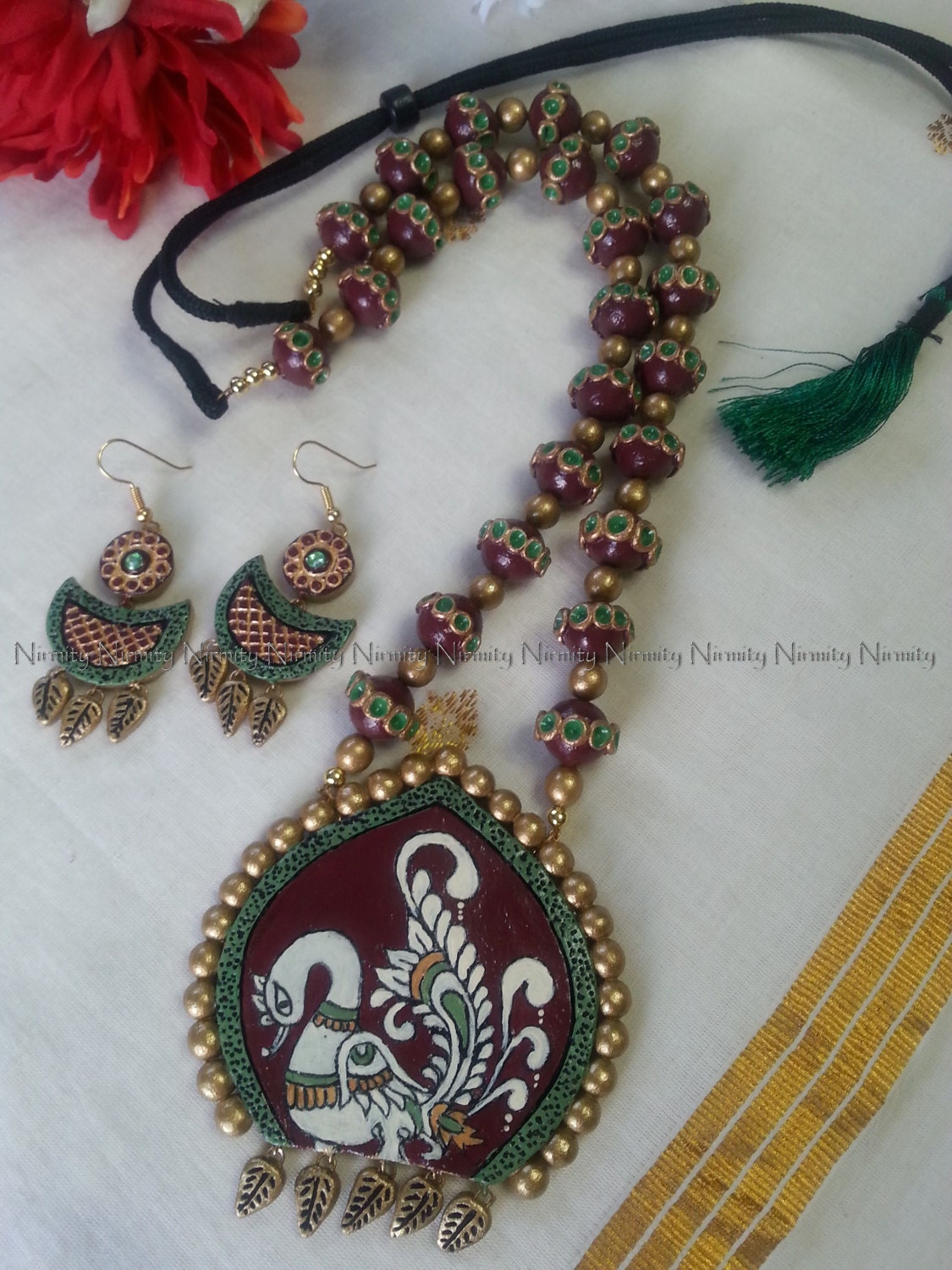 Terracotta kalamkari swan necklace set terracotta for Mural jewellery