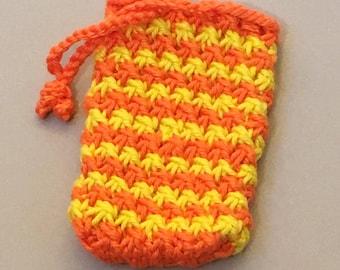 Soap Saver Bag, Washcloth, Soap Bag, Orange Cotton Soap Sack, Soap Sachet, Soap on a Rope, Knit Soap Holder, Soap Saver, Body Scrubber,