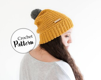The Erin beanie crochet pattern teen adult size || crochet beanie || pom pom beanie || crochet hat || slouchy beanie || wool beanie pattern