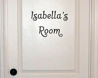 Bedroom Door Custom Decal with Name / Kids Room Custom Decal with Name Sticker / Child's Room Name Decal