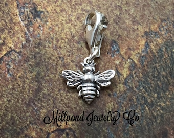 Bee Charm, Bee Pendant, Honeybee Charm, Sterling Silver Charm, Sterling Silver Pendant, Bee Charm with Lobster Clasp, PS0103LC