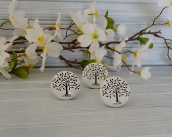 Tree of Life Knob. Tree Knob. Black and White Knob. Nature Inspired Knob. Family Tree Knob. Tree Drawer Pull. Cabinet Knob. Dresser Knob