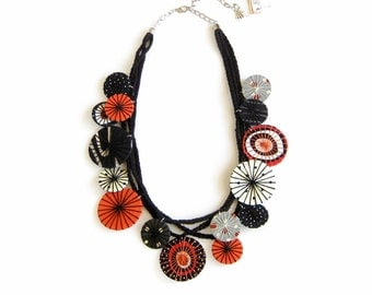 Statement Fabric Necklace Unique Textile Necklace Black White Orange Polka Dot Necklace Statement Jewelry Fabric Jewelry