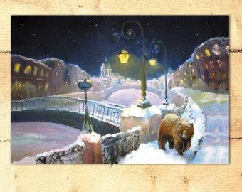 Bear decor City painting Print Animal art Bear in the city Petersburg art Christmas gift Home wall decor