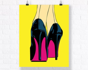 On High Heels - Customizable Pop Art Mega Poster, 24x36 inches Comic Book Illustration to Decorate Your Living/Working Space