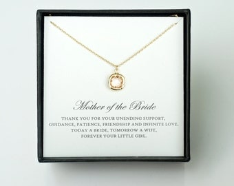 Mother of the Bride Gift from Daughter - Gold Glass Necklace, Wedding Jewelry & Thank You Card/ Wedding Day Gift for Mother from Bride