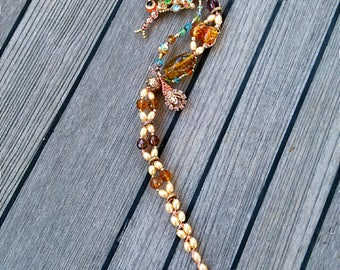 Seahorse Medium Wall Art Mixed Media Nautical Decor Gold Ivory Copper 'Crown Jewels'