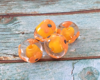 2+  Yellow  lampwork flower Beads, Handmade Glass Beads, Floral Lampwork, Colorful Floral Lamp work