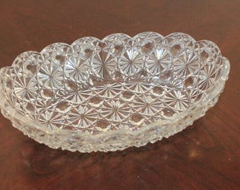 Clear Glass Trinket Bowl in the Daisy Button Pattern