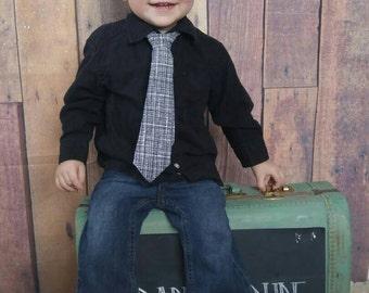 baby neckties, toddler neckties, boy neckties, adjustable ties -black and white (ages 6 months - 7 years)