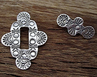 Unique Detailed Southwestern Stamped Clasp in Sterling Silver (one) (C) (N)