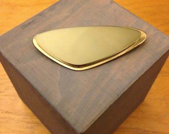 Vintage Mid Century Olive Green Boomerang  Pin