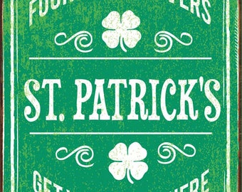 St Patrick's Irish Metal Sign, Good Luck, Four Leaf Clover, Seasonal Décor    HB7268