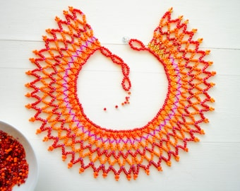 Orange, Red and Pink Necklace,Beaded Collar Necklace,African Beaded Bib Necklace,Zulu Necklace,African Statement Jewelry,African Bead-work