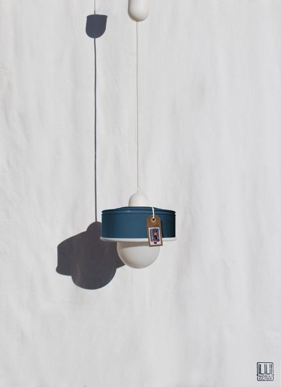 Hanging / pendant / ceiling lamp petrol blue color ... eco friendly & handmade : recycled from  coffee can !