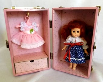 Vintage Pink Doll Trunk - Pink and White Metal Doll Clothes Trunk for a Ginny Doll - Pink Interior, Pink Hangers - Brass Hardware