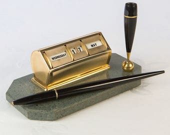Vintage Perpetual Desk Calendar with Pen Holder - on a marble base