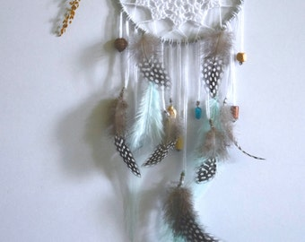 4,5'' crochet dreamcatcher with pastel blue feathers, newborn dreamcatcher, crochet doily center, baby blue dreamcatcher, newborn gift
