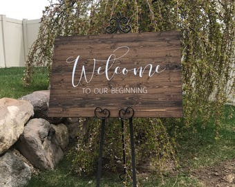 Wedding Welcome Sign - Rustic Wood Wedding Sign - Victoria Collection