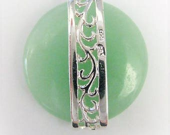 Jewelry Supplies ~  Jade  Sterling Silver   Pendant   Light Green  20mm