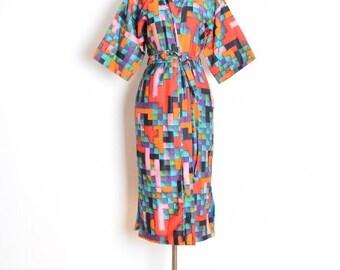 vintage 60s kimono, 70s kimono, printed kimono, 60s duster jacket, colorful print, geometric print, kimono dress, 60s bed jacket