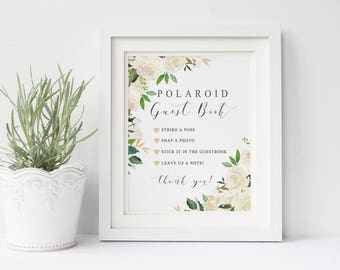 Polaroid guest book wedding sign printable, Garden white cream polaroid guestbook sign printable,  PDF Instant download, The Asli collection