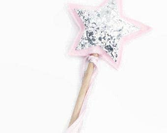 Star Wand - Pink and Silver - Princess Wand - Flower Girl Wand - Flower Girl Accessory - Fairy Wand - Gift under 15 - Fairy birthday party