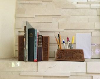 Vintage bookends walnut wooden bookends shelf decor books office organizer desk organizer pen holder letter holder Laser engraved wood shelf