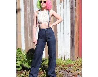 1970s Wide Flare High Waist Dark Wash Jeans by Wrangler