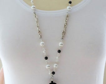 Pearl Necklace, Long Pearl Necklace, Long Ivory Pearl Necklace, Flapper Necklace,  Black Necklace, Cream Pearl Necklace, Tassel Necklace