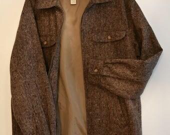 ORVIS Mens Zippered Brown Tweed Jacket