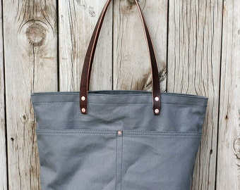 MARKET TOTE BAG | Slate with Leather Bottom | Leather Straps | Interior & Exterior Pockets | Lifetime Guarantee