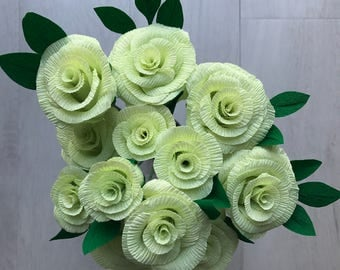 Crepe Paper Roses - lime handmade bunch of 12 roses - 35cm wired stems with leaves, beautiful for weddings or a gift