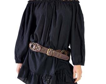CLASSIC CHEMISE - Zootzu, Pirate Chemise, Medieval Clothing, Steampunk, Costume Blouse, Larp Costume, Womens Pirate Costume  - Black