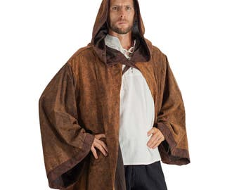 HOODED CLOAK with SLEEVES - Shawl, Cape, Jedi Robe, Jedi Costume, Renaissance Clothing, Medieval Cloak - Stone Brown with Brown Trim