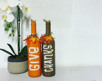 Give Thanks Painted Wine Bottles, set of 2