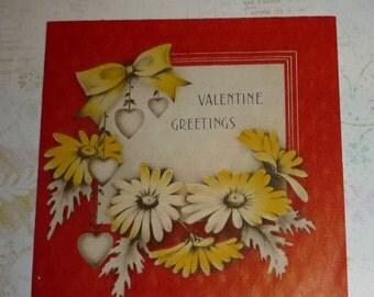 Daisies and Hearts Vintage 1938 Hallmark Valentine Card
