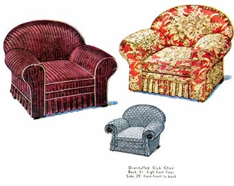 Vintage Oversized Chair Slipcover Pattern Club Chair Armchair Slip Cover Pattern 1930s Sewing Pattern McCall McCalls 446